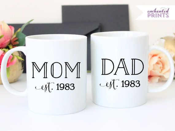 bbfbc73a2bd Personalized Mom and Dad Year Established Set, Ceramic mug, Mom and Dad mugs,  New Parent Gift, coffee mug gift, tea mug gift, 11oz mug
