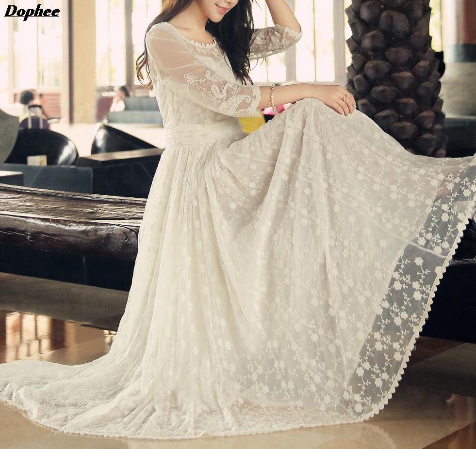 Khloe kardashian wedding dress   Summer New Super Pendulum Temperament Fairy Lace Embroidered