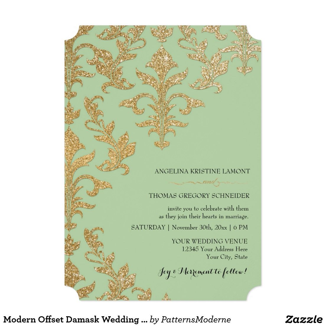 "Modern Offset Damask Wedding Invitations Faux Gold 5"" X 7"" Invitation Card"