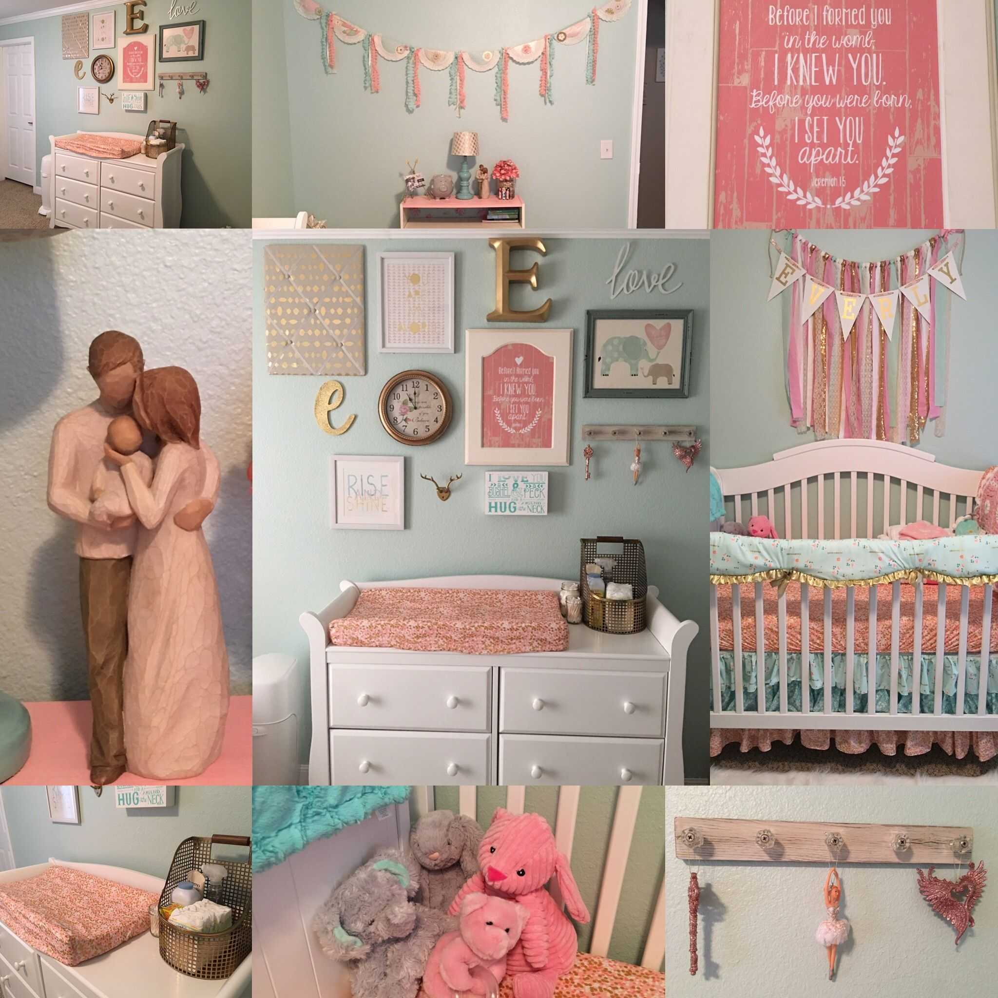 Pink Mint And Gold Nursery: Mint, Pink And Gold Nursery.