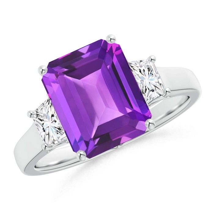 Angara Cushion Amethyst Diamond Cocktail Ring in White Gold