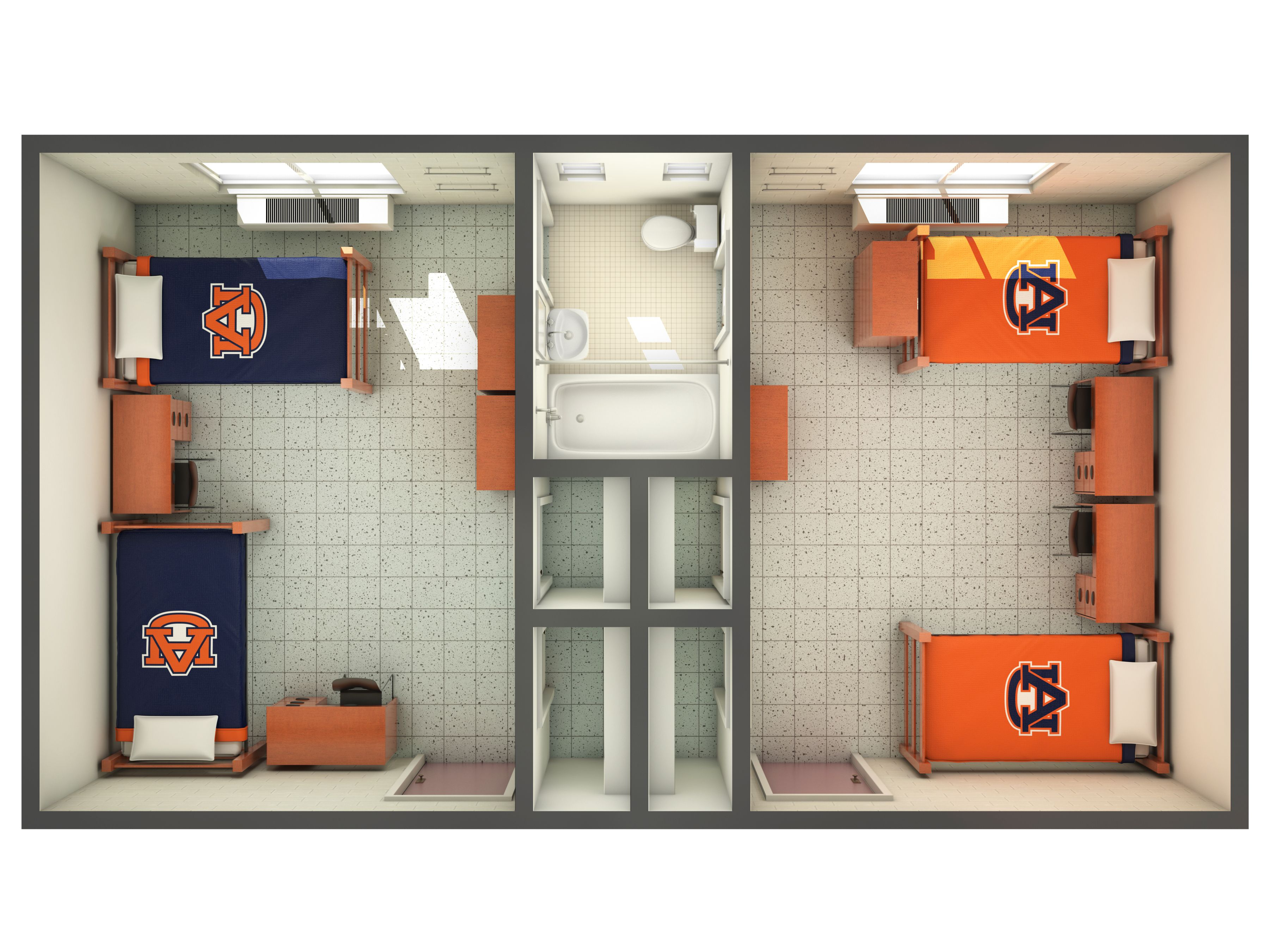 Top down view of a 3d rendering of the hill residence hall - Auburn university interior design program ...