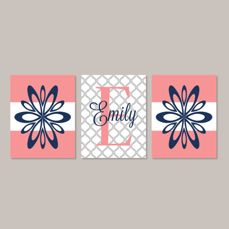 teen girl wall art prints or canvas room decor floral flower coral navy monogram name initial. Black Bedroom Furniture Sets. Home Design Ideas