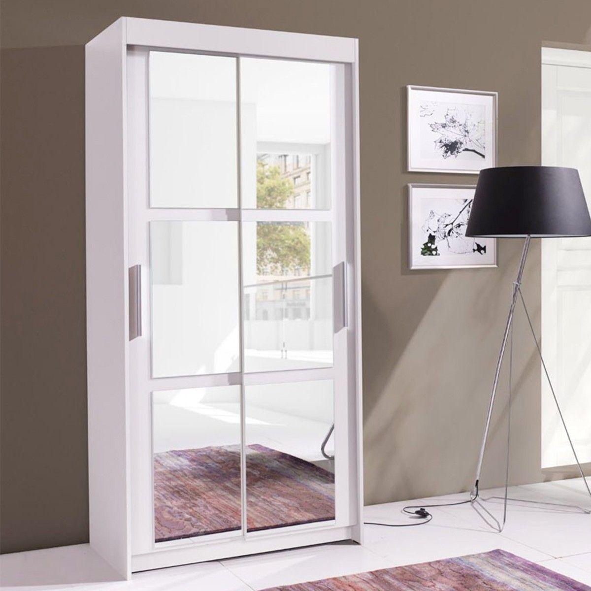 Placard À Portes Coulissantes armoire blanche 2 portes coulissantes avec miroir karo en