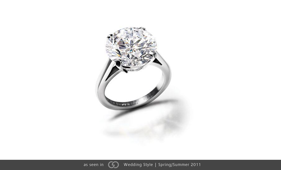 De Beers Round Brilliant Cut Platinum Engagement Ring Photo