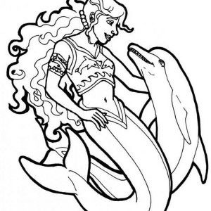 Mermaid, : Warrior Mermaid With Her Dolphin Coloring Page