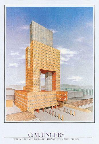 Oswald Mathias Ungers Torre Messe Torhaus Frankfurt Alemania 1983 1984 Architektur Architekturzeichnung Architekt
