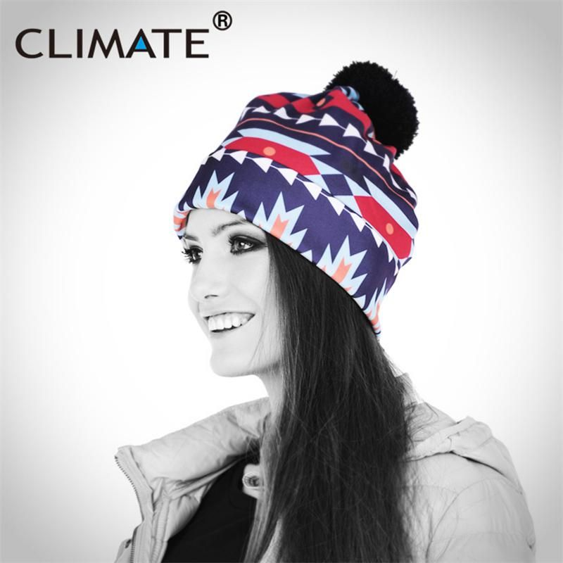 9e32b33d8bf CLIMATE Women Girls Winter Warm Hat Beanies 2018 Fashion Colorful Aztec 3D  Printing Pattern PompomUnique Knitted