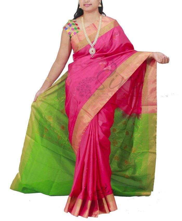 3d2bdc39717547 Pink pure Uppada Silk Saree in contrast green pallu