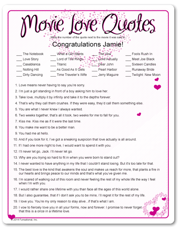 printable movie love quotes valentines day party games printable bridal shower gameswedding
