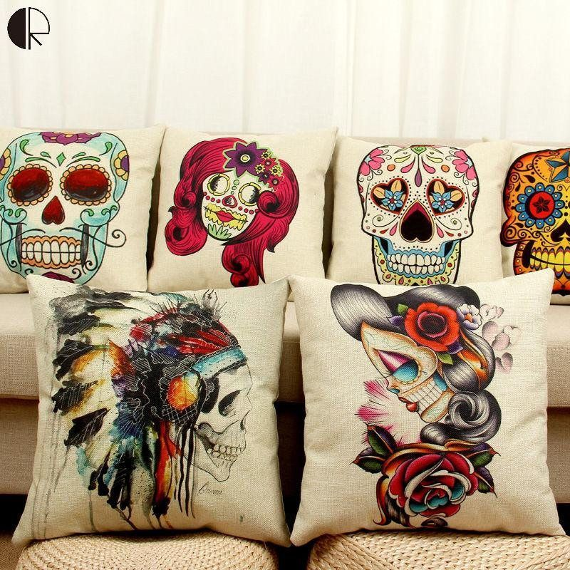 Mexican Sugar Skull Day Of The Dead Pillow Cases