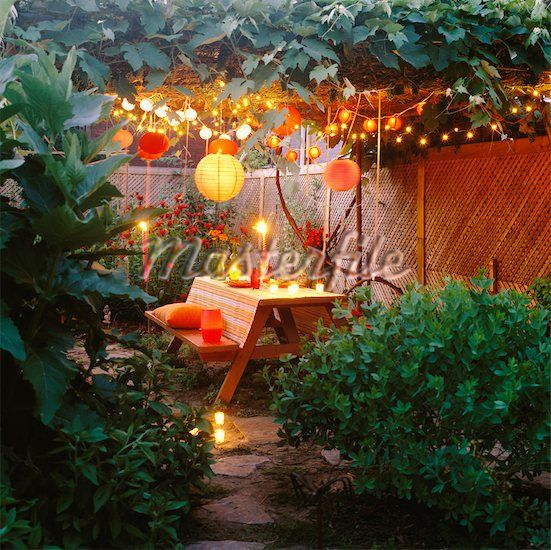 Ideas For Backyard Parties: I Love Lanterns And String Lights For Outdoor Party