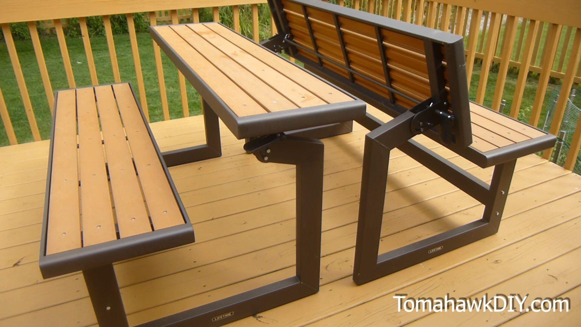 Convertible Bench Table Rumah Balok Kayu Perabot Buatan Sendiri Bangku Taman