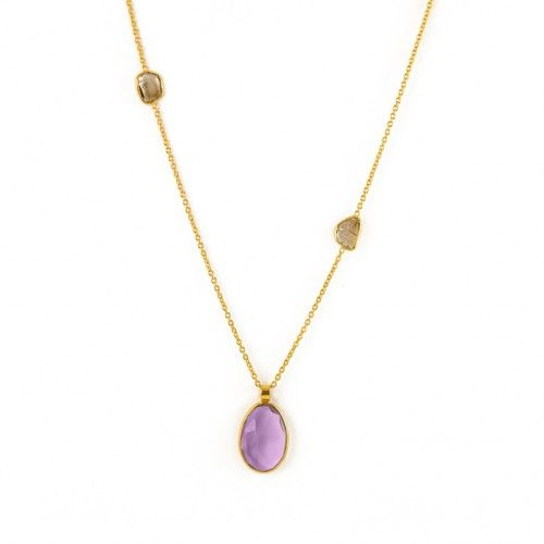 Silorn: 18ct Gold African Amethyst with Diamond Slices Necklace