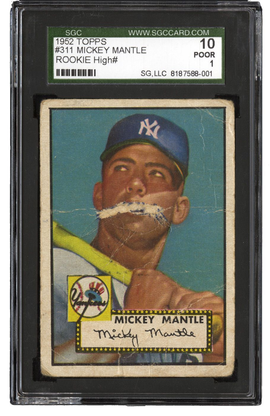 1952 topps 311 mickey mantle rookie card poor baseball