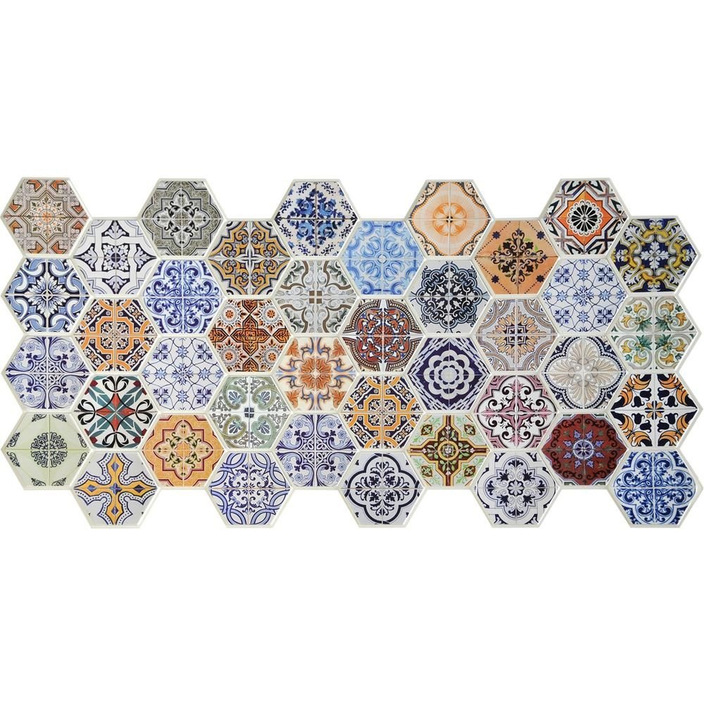 3d Falkirk Retro 10 1000 In X 38 In X 19 In Multicolor Hexagon Patchwork Mosaic Pvc Wall Panel Tp10015623 The Home Depot Vinyl Wall Panels Hexagon Patchwork Pvc Wall Panels