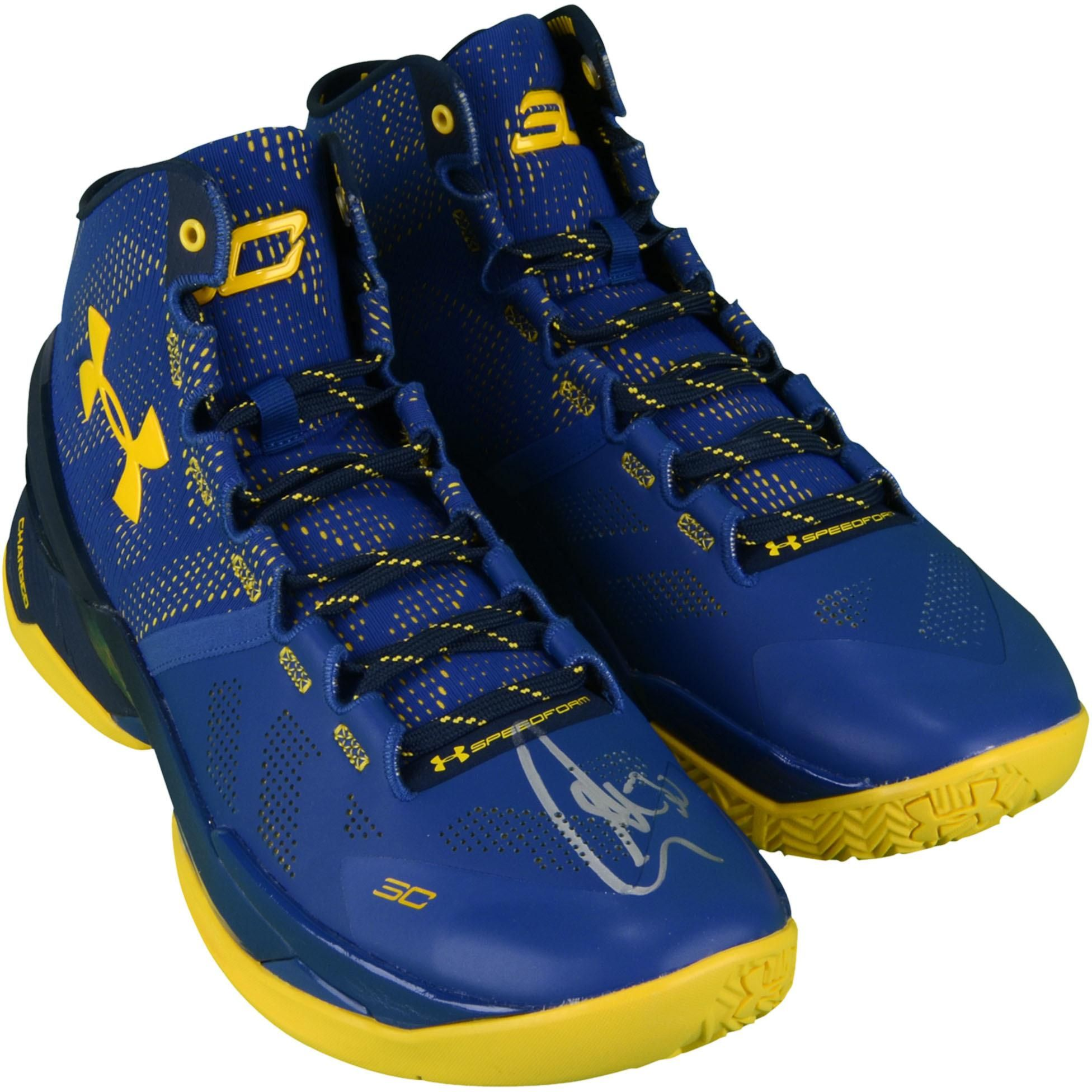 Stephen Curry Golden State Warriors Autographed Curry 2 Cobalt Blue and Yellow  Shoes 336b90182a