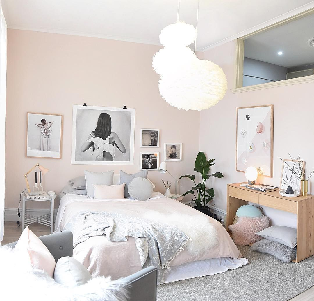 Pastel Pink And Grey Scandinavian Nordic Bedroom With Asymmetrical Art Gallery Wall Norsu