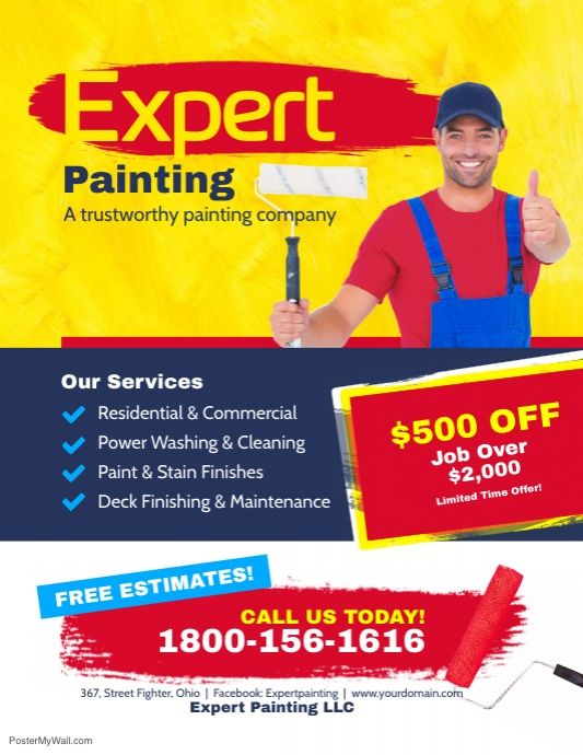 Expert Painting Services Flyer Poster | Cover photo design ...