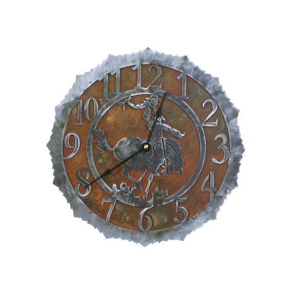 Rodeo Cowboy Bucking Bronc Clock Quarts Movement by CabinExclusive