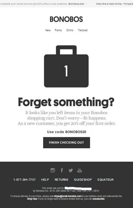 Bonobos example of great abandoned cart email