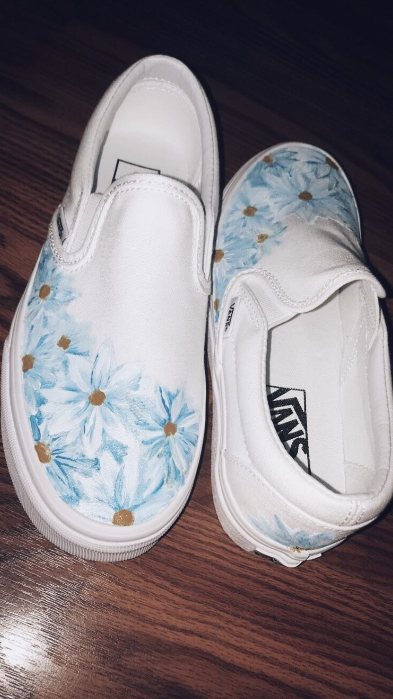 Shelbyyburns Hand Painted Flower Vans Painted Shoes Diy Custom Vans Shoes Custom Painted Shoes