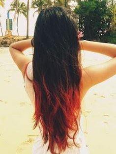 Brown (Black?) hair with red tips | All Things Trendy ;p | Pinterest ...