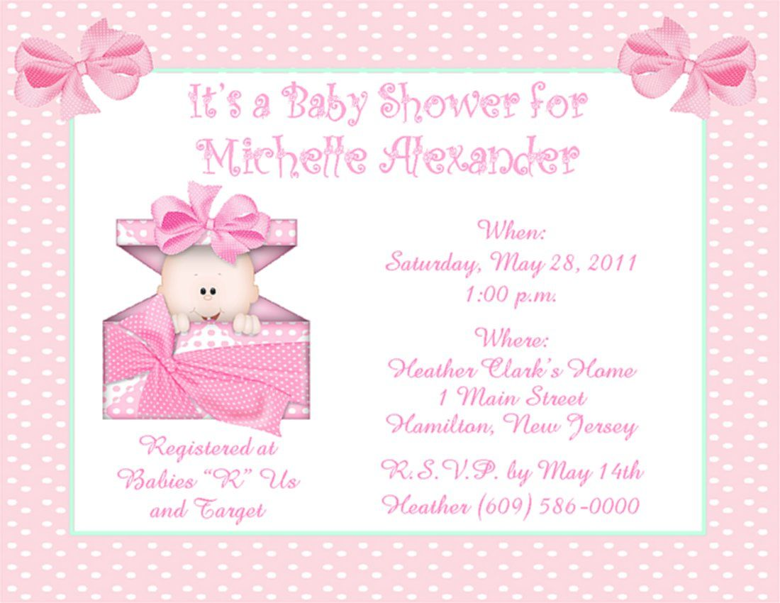 Baby Shower Invitations for Girls | Baby Shower Invitation Card ...