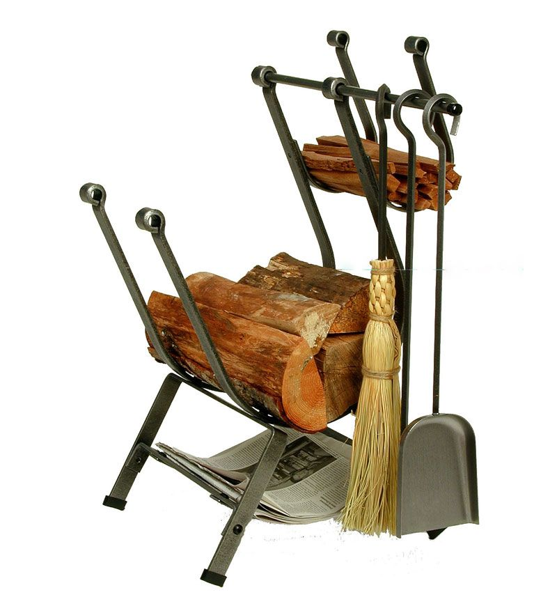 American-Made Hammered Steel Front-Loading Log Rack With Set Of 3 ...