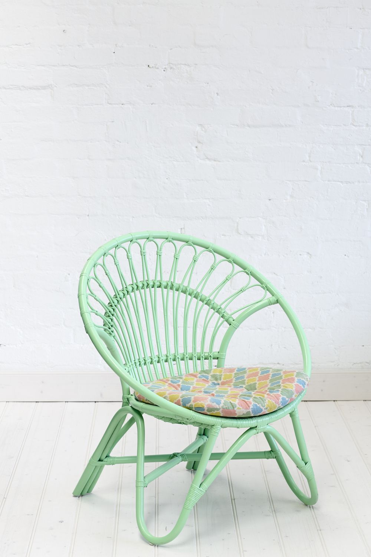 Rattan Round Chair Pastel Green Kids Decor Indoor Wicker
