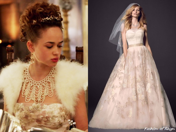 "5ec349b98e8 ... episode 2x12 (""Banished"") Princess Claude wears this Oleg Cassini via  David s Bridal Strapless Corset Gown with Rose Applique Detail ( 1250   899.99)."