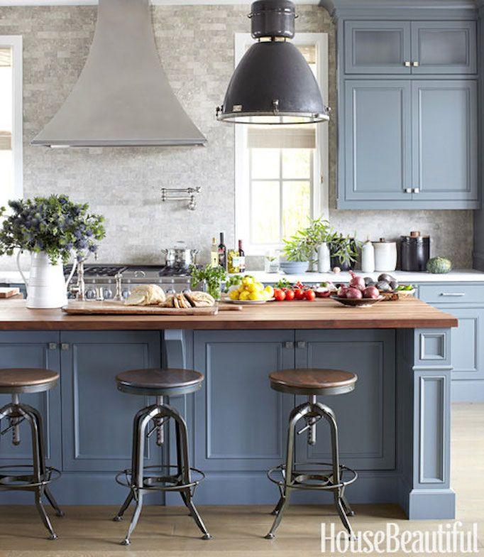 Having A Moment Blue Gray Kitchen Cabinets Butcher Block Countertop Industrial Pendant Wood And Metal Bar Stool