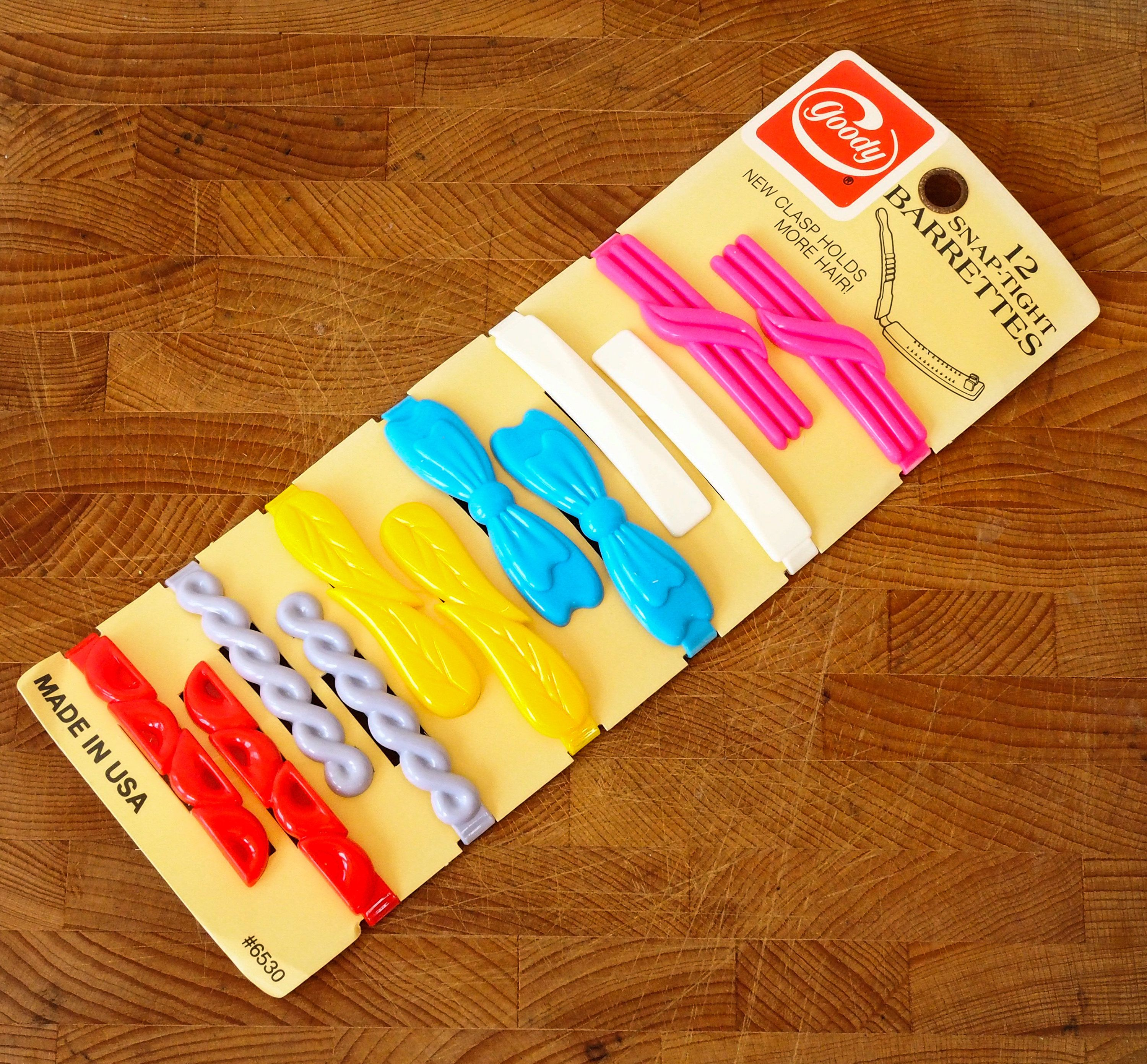 Set Of 6 Vintage Plastic Barrettes 80s Hair Pin Clip Bobby Jewelry Costume Accessory By