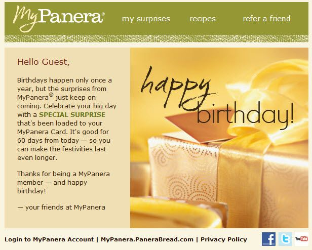 Happy Birthday email from Panerau0027s loyalty club Email - Auto - club card design
