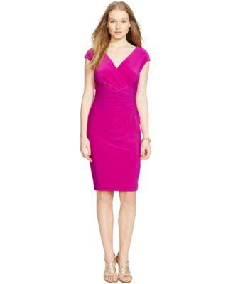 4be8f5128dbd5 Lauren Ralph Lauren Ruched Surplice Dress
