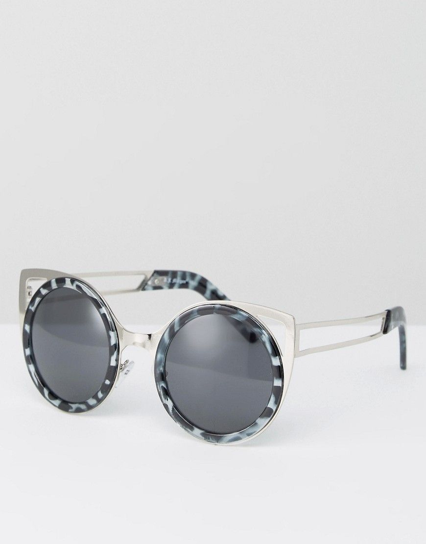 2559da55407 Click for more details. Worldwide shipping. AJ Morgan Round Sunglasses With  Brow Bar - Grey  Sunglasses by AJ Morgan Eyewear