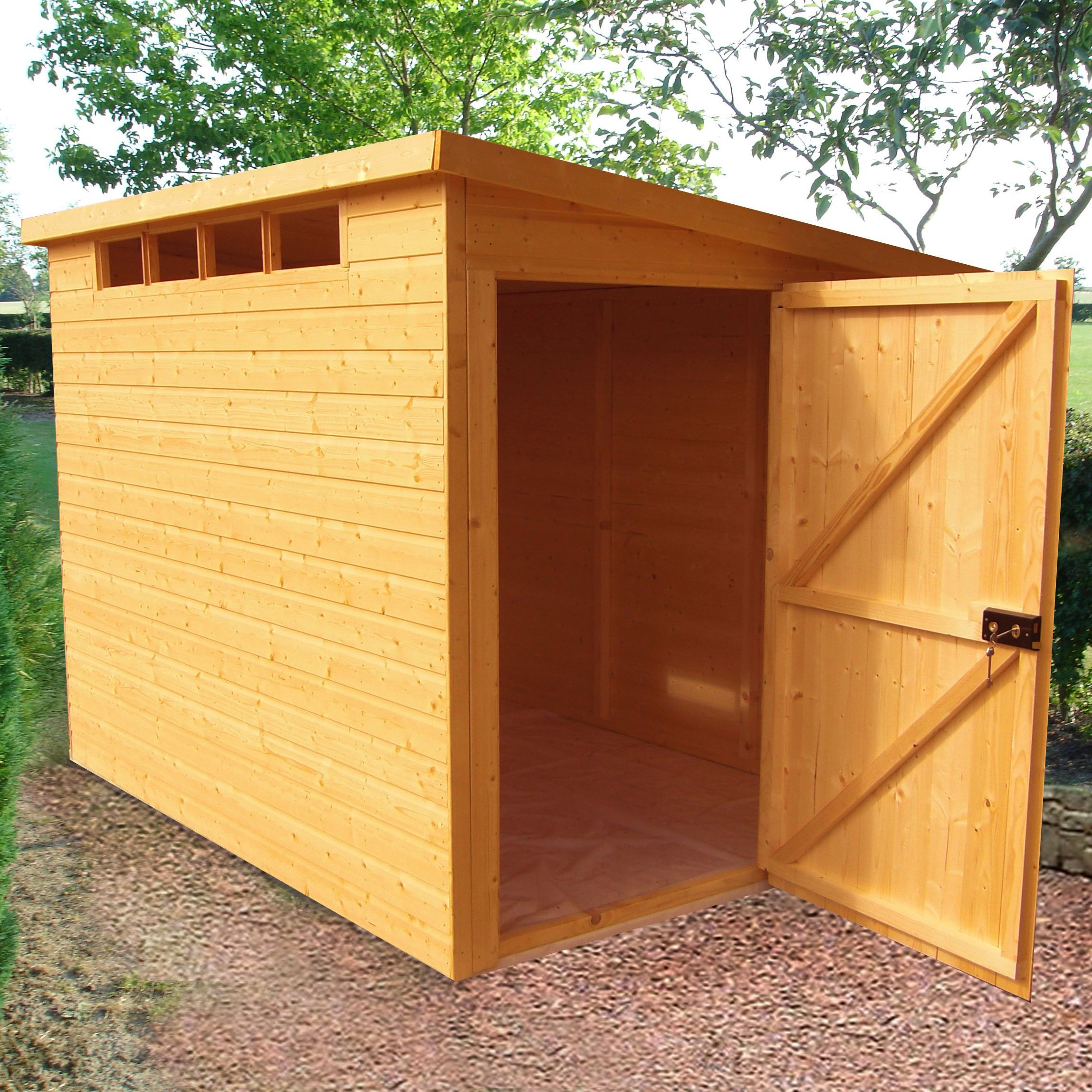Shire 10x10 Pent Roof Shiplap Timber Security Shed Assembly Required Departments Diy At B Q Wooden Sheds Shed Building A Shed
