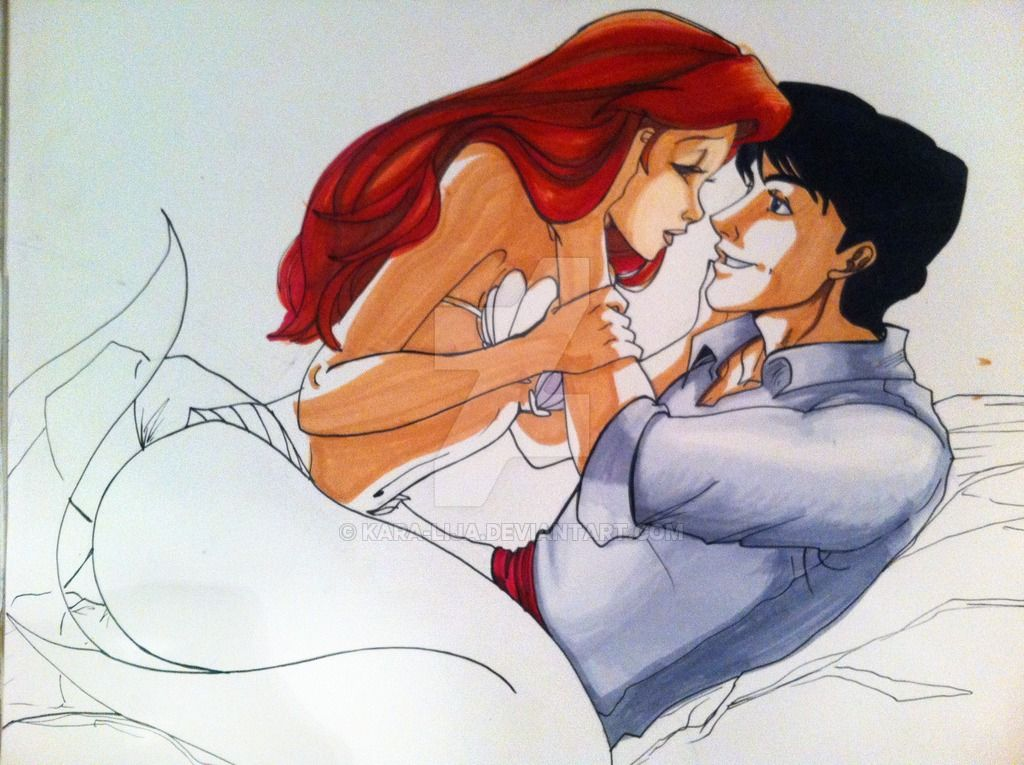 The Little Mermaid Ariel and her Prince Eric Done in pencil, india