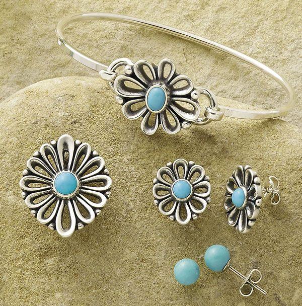 0e5c83b77 De Flores Pendant with Turquoise, De Flores Hook-On Bracelet, De Flores Ear  Posts, Turquoise Ear Posts #JamesAvery