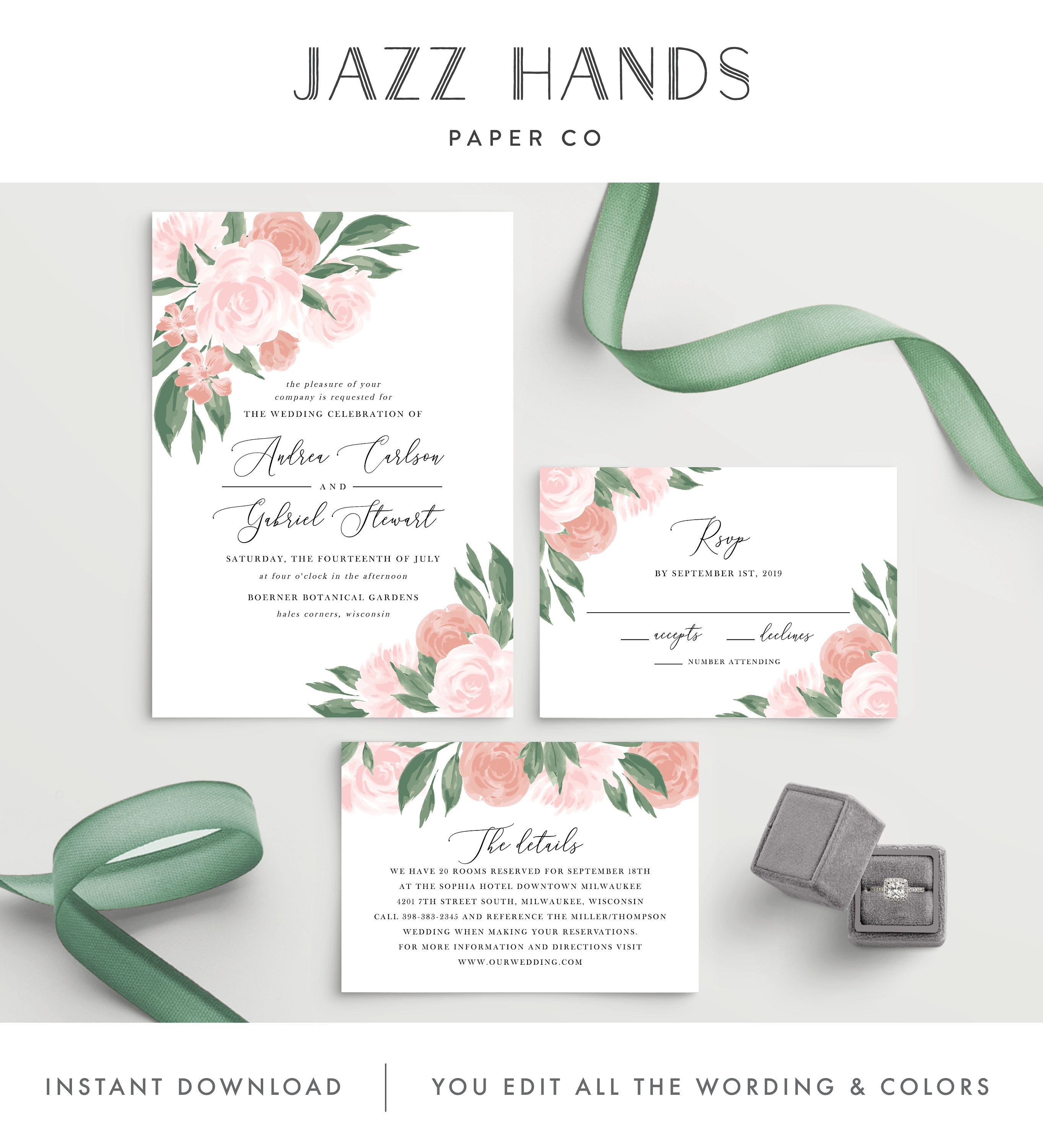 Wedding Invitation Template Colors And Text Fully Editable Etsy Wedding Invitation Templates Instant Download Wedding Invitations Wedding Invitations