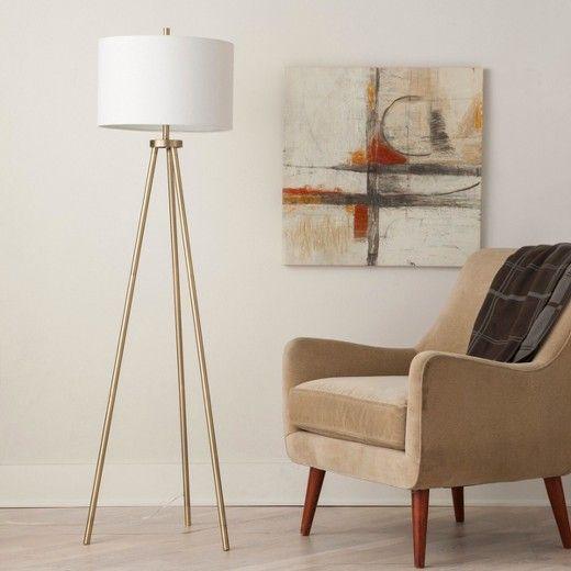 Tripod Floor Lamp - Antique Brass - Project 62™ | Mid century modern ...