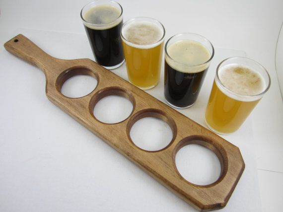 handmade craft beer flight tasting sampler paddle with four 4 tasting glasses english