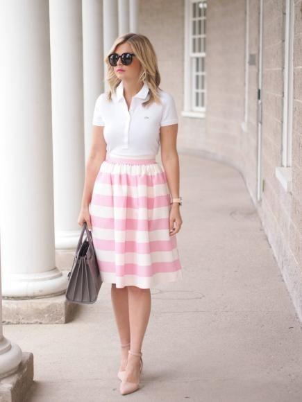 Polo shirt outfits, Midi skirt outfit