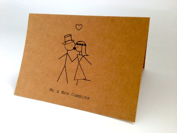 20 Customised Wedding Engagement Thank You Cards Invitations Kissing Mr Mrs Stick