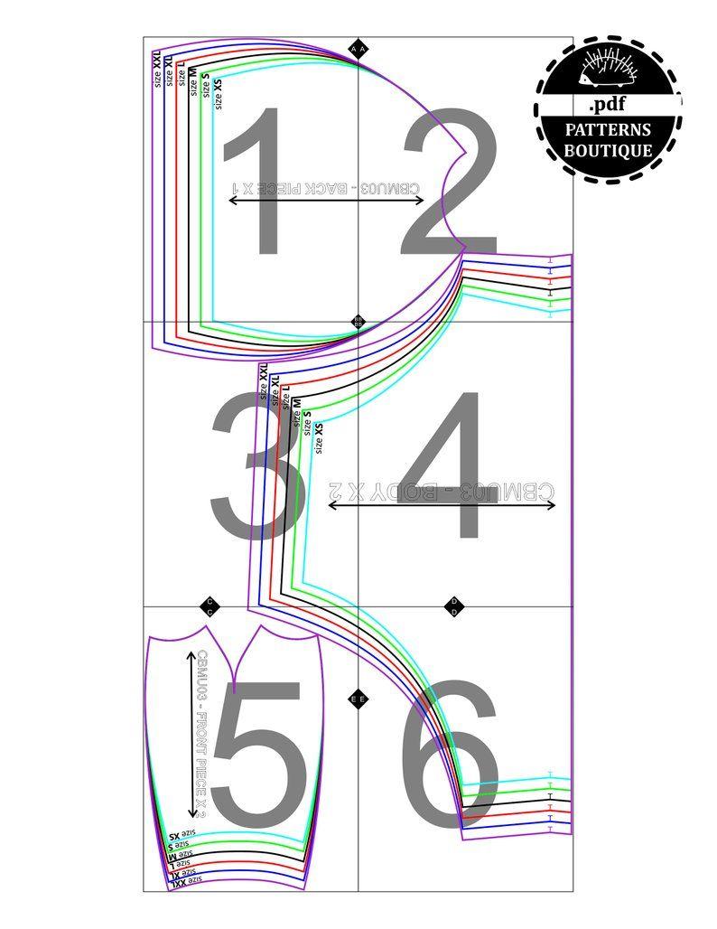 Tops un XS-S-M-L - Xl Nuevo diseño patrón de costura 6588 Sudaderas