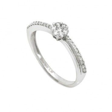 Δαχτυλίδι ροζέτα λευκόχρυσο Κ18 με διαμάντια στο κέντρο και σειρέ διαμάντια  στη γάμπα του δαχτυλιδιού  a3d5895cf7b