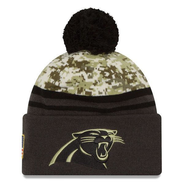 dd2c545189f5b5 Carolina Panthers New Era Camo/Graphite Salute To Service Sideline Pom Knit  Hat