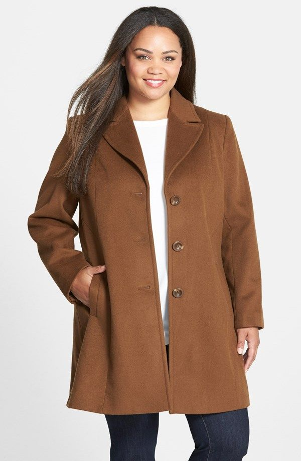 ba0dcef641e4b Kristen Blake Single Breasted Wool Blend Walking Coat (Plus Size) (1 ...