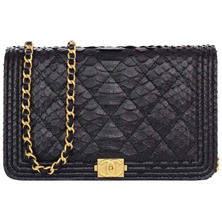 35de6f8eb04a Chanel NEW 2017 Black Python Boy Wallet on a Chain WOC Crossbody Bag ...