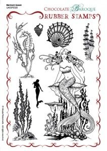 Mermaid Queen Rubber stamp sheet - A5 | Mermaid drawings ...
